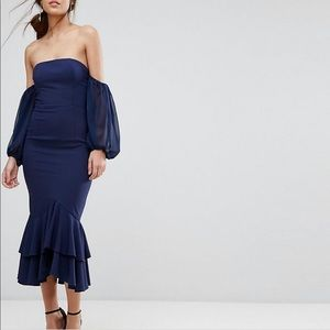 ASOS Jarlo off shoulder midi fishtail dress navy